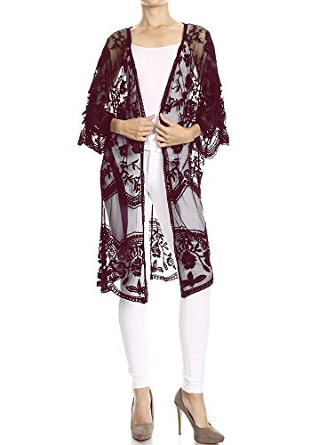 Anna-Kaci Womens Long Embroidered Lace Kimono Cardigan With Half Sleeves, Burgundy, Onesize Lace Kimono