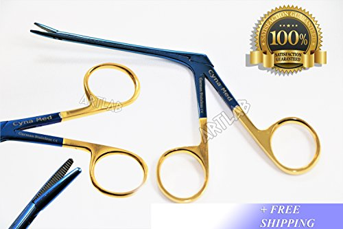 New German Titanium Hartman Alligator Forceps 3.5'' Serrated Gold Rings ENT (CYNAMED) by CYNAMED