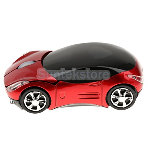 Generic 2. 4G 1600DPI Mouse USB Receiver Wireless Light Car Shape Optical Mice Red