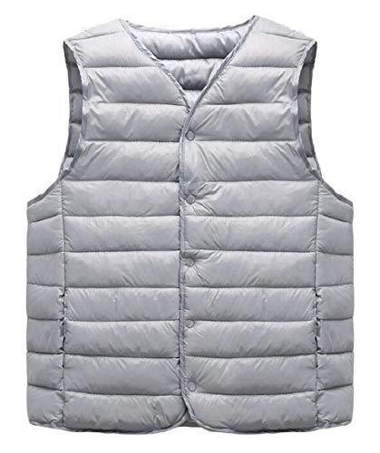 Jacket Men's Grey Packable Coat Puffer Down Vest Waistcoat Button security Down PBFq8ww