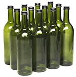 North Mountain Supply 750ml Champagne Green Glass Bordeaux Wine Bottle Flat-Bottomed Screw-Top Finish (Black Metal Lids)