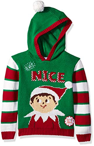 Elf on The Shelf Little Boys Always Nice Xmas Sweater, Jolly Green, 4