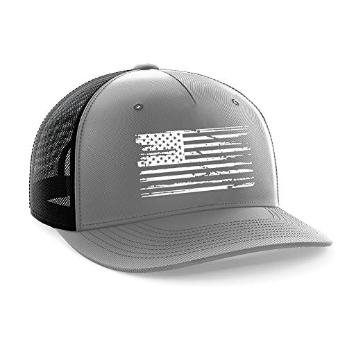 Tactical Pro Supply White American Flag Gray Snapback Hat (Pro Baseball Hats)