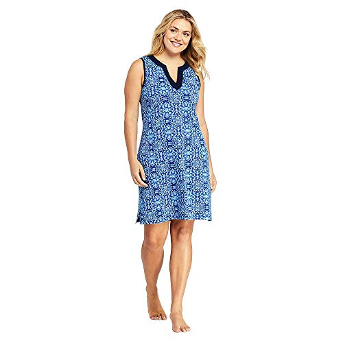 lus Size Cotton Jersey Sleeveless Tunic Dress Swim Cover-up Print, 2X, Deep Sea/Galaxy Blue Mosaic ()