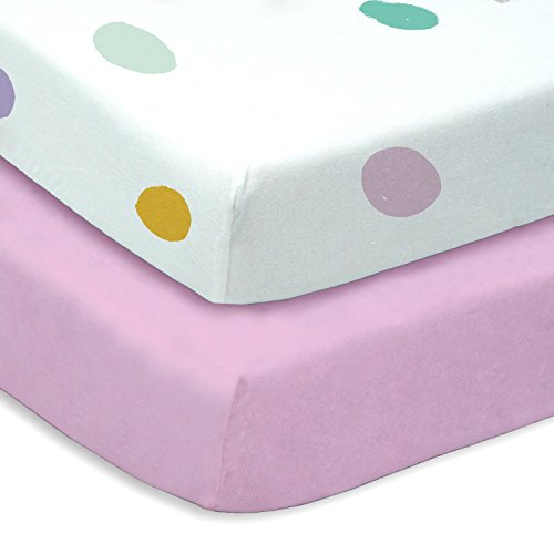 Colorful Seafoam Teal, Yellow, Purple, and Pink Polka Dot 2 Pack Fitted Baby Crib Sheet Set (Toddler Bed Set Organic)