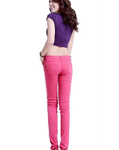 Jeans Delgado Push Estilo Lápiz Flaco Skinny Up Alta Rose Runyue Pantalones Vaqueros Ocio Elástico Mujer Cintura q607A