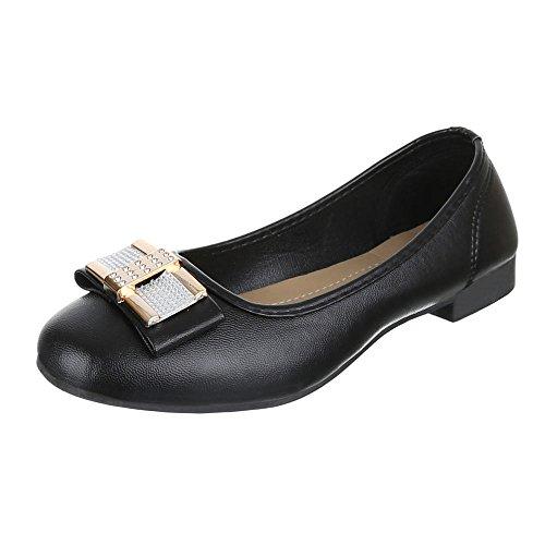 Schwarz Schuhe Pumps Ballerinas BESETZTE Strass 131 Design Damen H Ital SwqBU7Z
