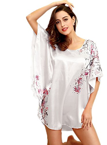 SexyTown Women's Plus Size Short Batwing Sleeve Nightgown (White 2) (Womens Short Silk Nightgowns)