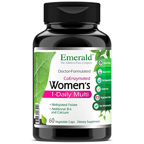 Womens 1-Daily Multi - Complete Daily Multivitamin with CoEnzymes + Vitamin B6 & Calcium - Supports Adrenal Function, Energy Boost, Hormonal Support - Emerald Labs - 60 Vegetable Capsules