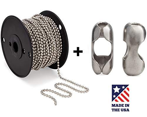 - #10 Beaded Ball Chain 100 Feet Spool & Matching #10 B Couplings, Nickel Plated Steel - Bundle