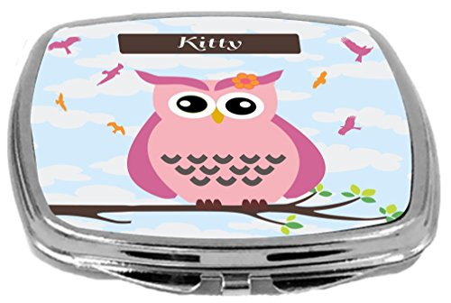 Rikki Knight Cute Pink Owl on Branch with Personalized Na...