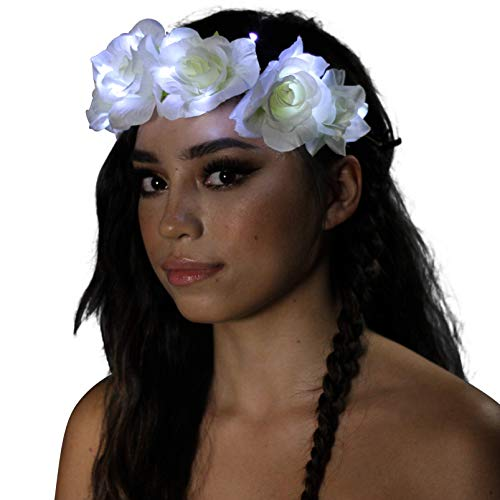 Light Up Flower Crown (White Rose)