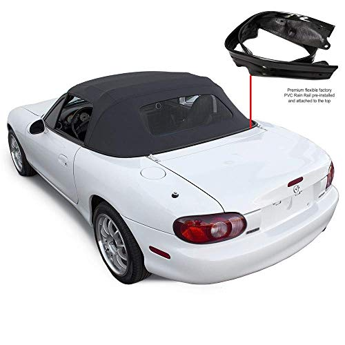 - Compatible With Mazda Miata Convertible Top With Heated Glass Window & attached Rain Rail (Black)
