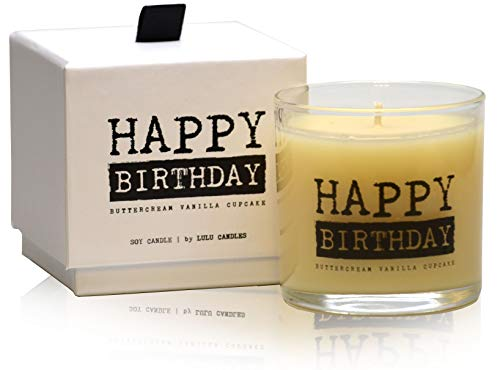 Lulu Candles | Buttercream Vanilla Cupcake | Happy Birthday | Luxury Scented Soy Jar Candles | Hand Poured in The USA | Highly Scented & Long Lasting | Small-6 Oz. with Gift Box