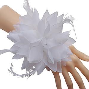 Evnis Pack of 1 - Wedding Bridal Bridesmaid Wrist flower Wrist Corsage Bride headdress 3 in 1 (white) 18