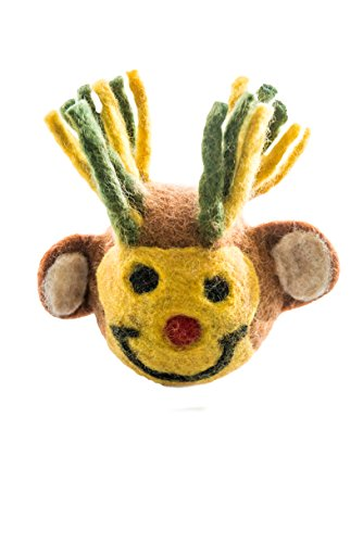 Le Sharma Eco-Animal Head Ball (Monkey), Stuffing Free - Dog and Puppy Play Natural Wool Toy ()