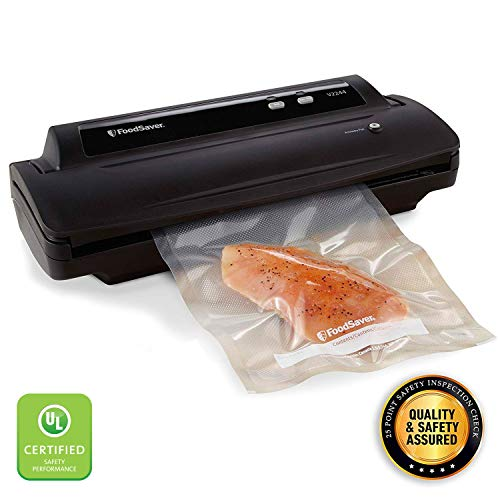FoodSaver V2244 Vacuum Sealer Machine for Food Preservation with Bags and Rolls Starter Kit | #1 Vacuum Sealer System | Compact & Easy Clean | UL Safety Certified | Black (Best Rated Food Vacuum Sealer)