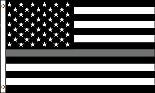 ALBATROS 3 ft x 5 ft USA Thin Gray Line American Correction Officer Law Enforcement Flag Grey for Home and Parades, Official Party, All Weather Indoors Outdoors ()
