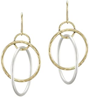 product image for Marjorie Baer Interlocking Rings Hoop Earring in Brass and Silver