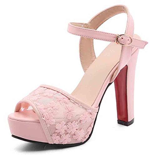 Easemax Mujeres Sweet Lace Peep Toe Con Hebillas En El Tobillo Correa Alta Con Plataforma Sandalias De Tacón Grueso En Rosa