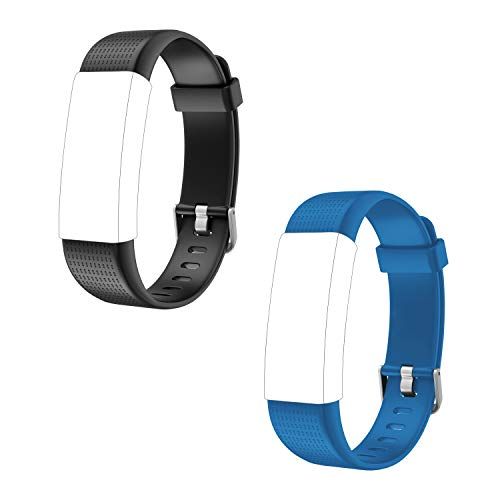 Letsfit ID130Plus Color HR Replacement Bands, Adjustable Accessory Bands Fitness Tracker ID130Plus Color HR, 2 Pack (Black, Blue)