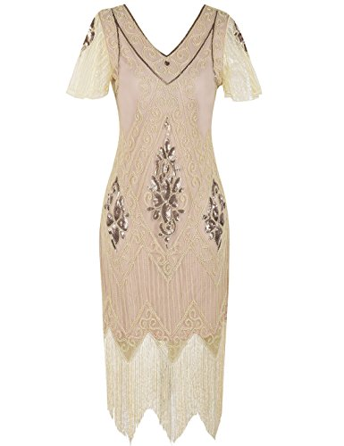PrettyGuide Women's 1920s Flapper Dress Fringed Great Gatsby Dress M Champagne Pink