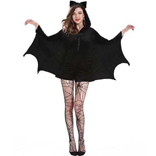 Women's Cozy Bat Zipper Front Fleece Dress w/Hood XXL