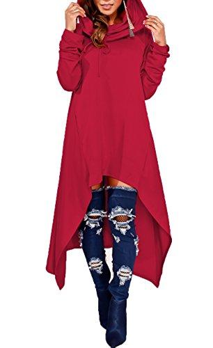 Women's Pullover Asymmetrical Hem Tunic Tops Hoodies Sweatshirts Dresses Red - Tunic Hoodie