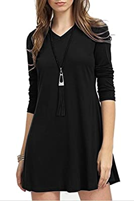 TOPONSKY Women's Casual Plain Long Sleeve Simple T-shirt Loose Tunic Mini Dress