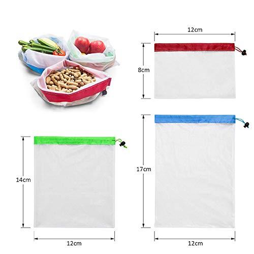 SHELLYANDAMMA 9 Piezas Bolsas De Compra Pack Ecol/óGico Reutilizable Bolsas De Malla con Cord/óN Lateral /úNico para Frutas Y Verduras