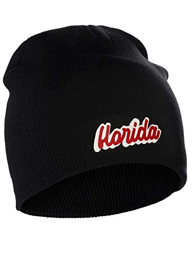 I&W Classic USA Cities Winter Knit Cuffless Beanie Hat 3D Raised Layer Letters, Florida Black, White -