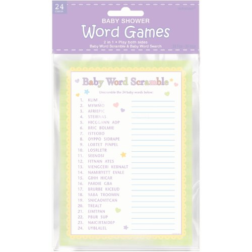 Amscan Baby Shower Word Scramble and Baby Word Search -