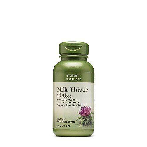 Vegetarian Capsules Plus Milk - GNC Herbal Plus Milk Thistle, 200mg, Vegetarian Capsules, 100 ea