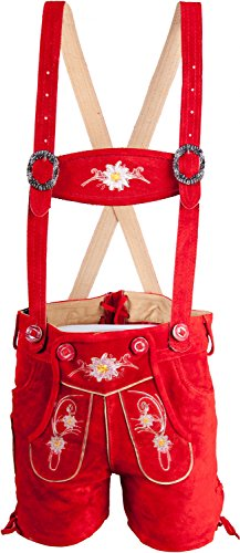 Almwerk Kinder Trachten Lederhose kurz in braun, hellbraun, schwarz und rot, Kindergrößen:164 - 13-14 Jahre. 159 bis 164 cm;Farbe:Rot