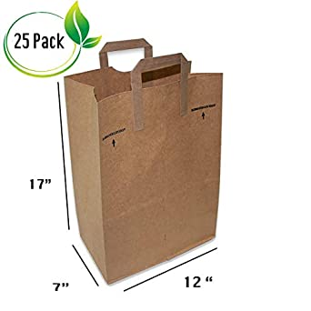 Amazon.com: 25 Count Paper Retail comestibles Bolsas kraft ...