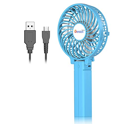 Mini Handheld Fan, VersionTECH. Personal Portable Desk Stroller Table Fan with USB Rechargeable Battery Operated Cooling Folding Electric Fan for Office Room Outdoor Household Traveling Blue (Pc Case Fans Blow In Or Out)