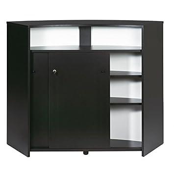 Simmob Meuble Bar Comptoir D Accueil 2 Portes Noir 135 Cm Amazon