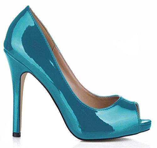 CHMILE CHAU Damenschuhe-Pumps Stiletto-Hoher Absatzschuhe-Lackleder-Sexy-Modisch-Abendschuhe-Peep Toe-Plateau 1cm Blau-C