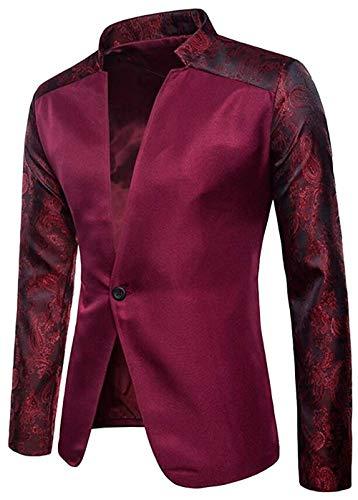 Men's Regular Fit One Button Solid Casual Mandarin Collar Blazer Jacket Coat,Large,WineRed