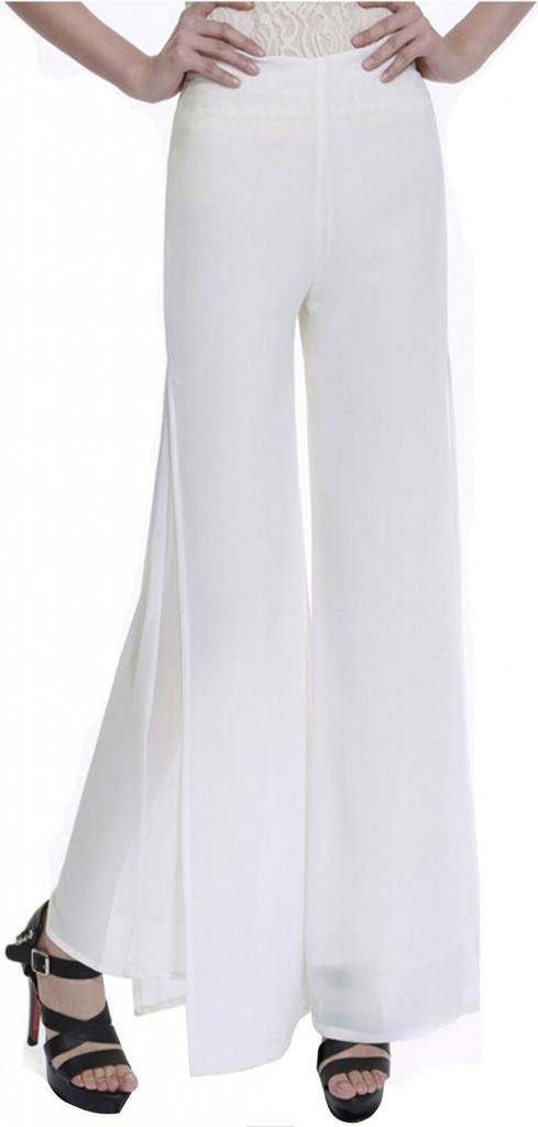 Somo Lite Women's Fold-Over Flare Wide Leg Slinky Boho Palazzo Pants