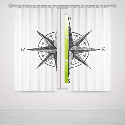 Compass Room Complete Decor - YOLIYANA Window Curtains,Compass,Living Room Bedroom Décor,Seamanship Hand Drawn Windrose with Complete Directions North South East West Decorative2 Panel Set,79W X 83L Inches
