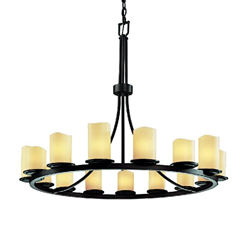 Justice Design Group CandleAria 15-Light Chandelier - Dark Bronze Finish with Cream Faux Candle Resin Shade - Candlearia Chandelier