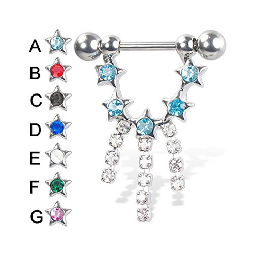 MsPiercing Nipple Ring With Five Jeweled Stars And Three Dangles, 14 Ga, Pink - G