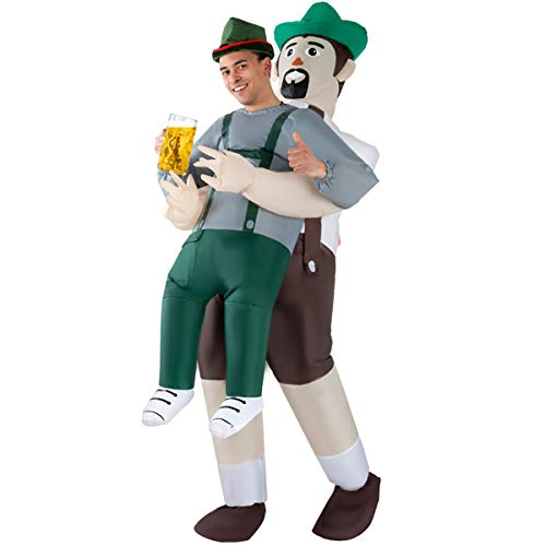 Mens Lederhosen Pick Me Up Inflatable Costume - Great Illusion Fancy Dress Outfit One size fits -