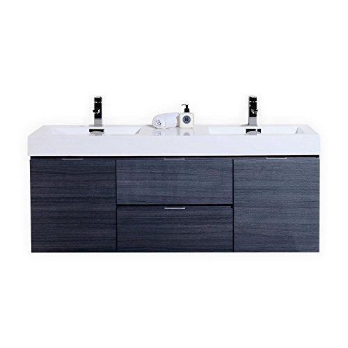 Oak Wall Mount - Bliss 60″ Gray Oak Wall Mount Double Sink Modern Bathroom Vanity