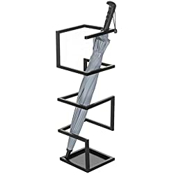 MyGift Geometric Design Metal Umbrella Holder Stand, Black