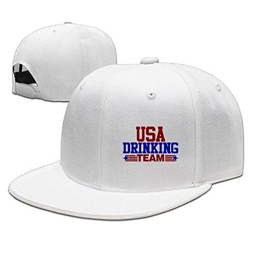 (WLF USA Drinking Team Adult Unisex Adjustable Flat Baseball Cap Snapback Hip-Hop Cap)