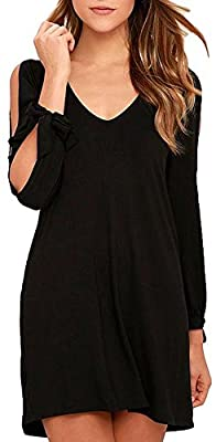 BomDeals Womens Shift Dress, Cute Soft Casual V-Neck Long Sleeves Cold Shoulder Cutout Tunic