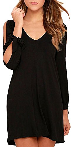 Cut Out Long Sleeve (Womens Shift Dress, Cute Soft Casual V-Neck Long Sleeves Cold Shoulder Cutout Tunic (Black,XL))