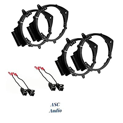 """ASC 2 Pair 6+-Inch 6"""" 6.5"""" 6.75"""" Car Speaker Install Adapter Mount Bracket Plates w'Speaker Wire Connectors for Select GM GMC/Pontiac/Chevrolet Vehicles- see below for compatible vehicles: Car Electronics"""